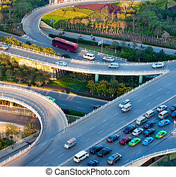Aerial transport hub overpass - Aerial view of the Stack...