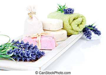 toiletries for relaxation - towel, soap, isolated on white...