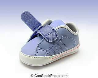 Blue baby shoe - Blue baby sneaker with open velcro strap,...