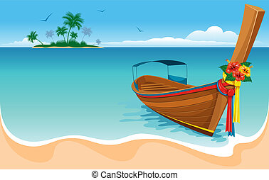 Long tail boat on the tropical beach