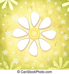 vintage spring background with white flower over green old paper gradient with daisy flowers
