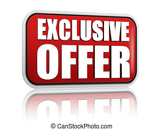 exclusive offer red banner - exclusive offer button - 3d red...
