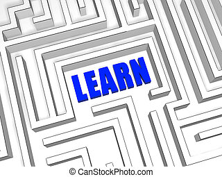 blue learn in labyrinth - learn in the centre of labyrinth,...