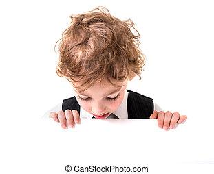 Little boy is peeking from blank sign - Portrait of a gay...