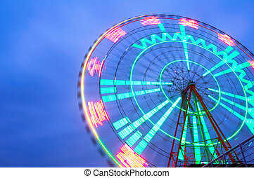 Ferris wheel - Night, a rotating Ferris wheel.