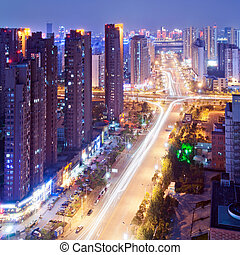 Shanghai Night - Aerial view of city night