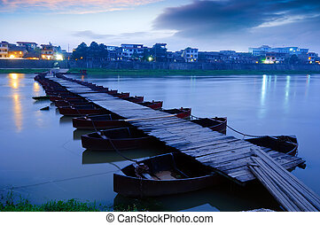 Pontoon - Boardwalk at night in remote rural China