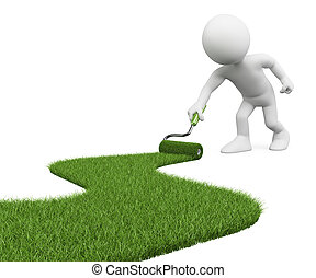 3D white people. Paint grass path - 3d white person painting...
