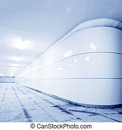 Pedestrian tunnel - A long pedestrian tunnel, modern...