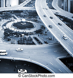 Traffic: crossing high ways - The citys overpass system,...