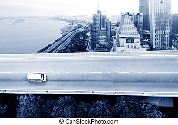 Traffic: crossing high ways - The city's overpass system,...