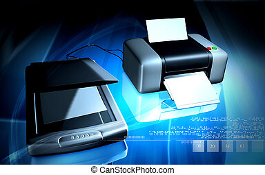 Scanner and printer - Digital illustration of Scanner and...