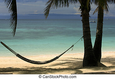 Beach Boracay - View of nice tropical empty sandy beach with...