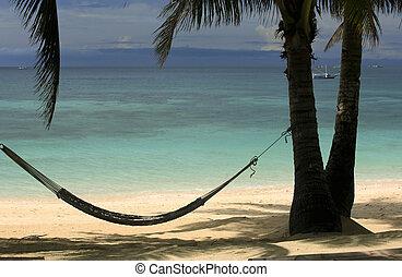 Beach Boracay - View of nice tropical empty sandy beach with...