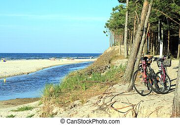 Bicycle trip - Bicycles standing on the dune against the...