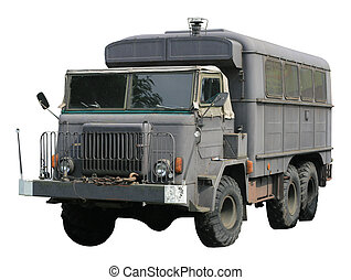 Vintage military truck isolated over white background
