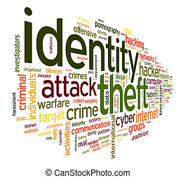Identity theft in word tag cloud - Identiry theft concept in...