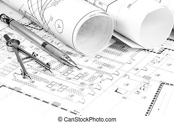 House plan blueprints - Rolls of architecture blueprint and...