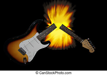 Broken guitar - An electric guitar, with an explosion...
