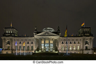 The Reichstag building at night in Berlin