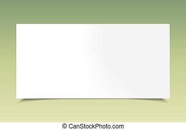 Blank white paper on green background. Vector illustration