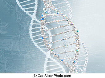 DNA helix against the colored background, scientific...