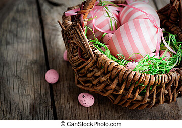 Easter concept - Colorful Easter holiday concept with pink...