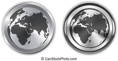 World map on metallic circle elements Vector illustration