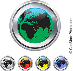 Globe and world map on metallic circle elements. Vector...