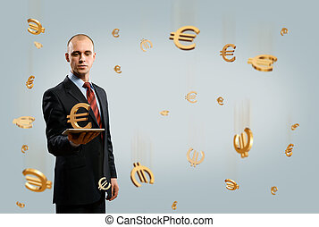 man holding tablet with euro symbol, money concept