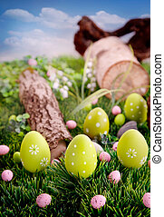 Colorful Easter eggs. Holiday nature concept with easter...