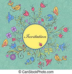 colorful floral invitation