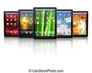 Group of digital tablet pc with different screen backgrounds...