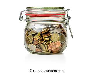 canning jar filled with coins