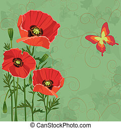 Floral vintage background with poppies and butterfly -...