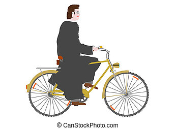 Priest. - A priest on a bicycle on a white background.