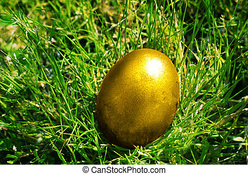 Easter eggs - Ester photo with golden eggs