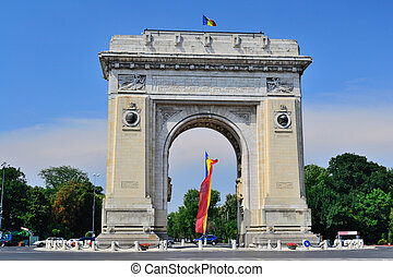 Triumphal Arch In Bucharest - Front View