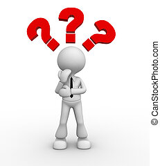 Question mark - 3d people - man, people thinking with red...