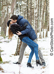 Happy Young Couple in Winter