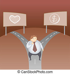 business man love money decision cartoon character business...