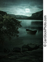 Night Landscape.Lake in the moonlight