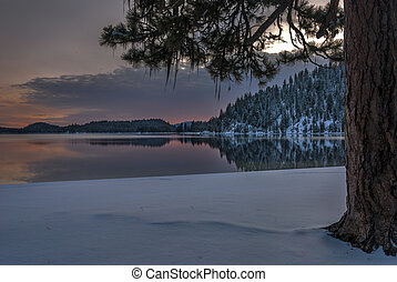 Payette Lake Idaho winter sunset - Winter sunset on a...