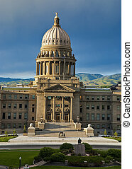 Idaho State Capital - Idaho state Capital with statue and...