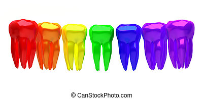 A row of multicolored teeth on a white background - 3d...