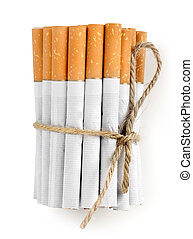 Bunch of cigarettes isolated on a white background