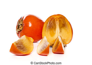 persimmon - fresh persimmon fruit on a white background