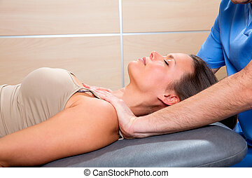 Myofascial therapy technique with therapist hands in woman...