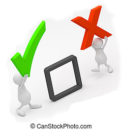 3D People with check mark and OK sign on white background