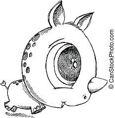 Cute Sketch Doodle Rhino Vector Art